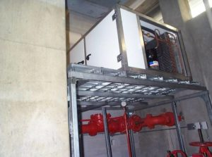 Indoor Condensing Unit - Mounted in adjacent Sprinkler Room